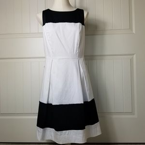 WHBM Black and White Colorblock Cotten Dress 12